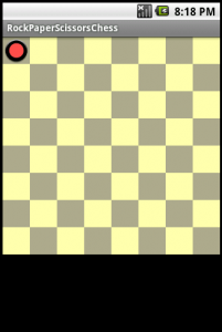 Board with a single rock in the top left corner